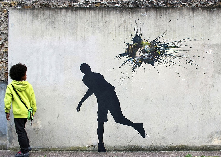 Pejac Left New Street Art Pieces On The Walls Of Paris for Famous Street Wall Art 29959