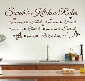 Personalised Kitchen Rules Quote Wall Art Sticker, Decal, Graphic pertaining to Kitchen Wall Art Quotes 26594