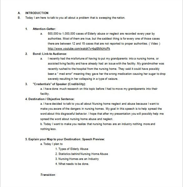 Persuasive Speech Outline Template   Free Sample Example For