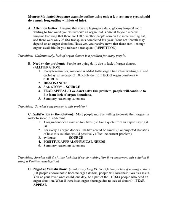 Persuasive Speech Outline Example  Examples And Forms