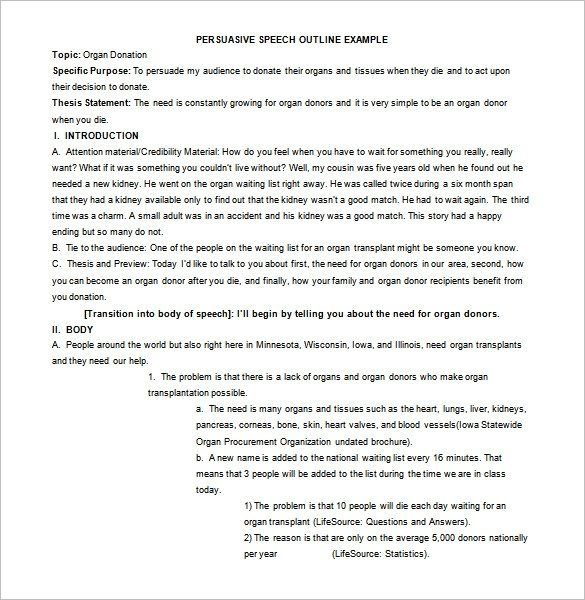 Persuasive Speech Outline Template – 9+ Free Sample, Example regarding Persuasive Speech Outline Example