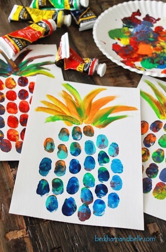 Pineapple Thumbprint Painting! Perfect For Summer Fun! Camp? Day in Arts And Crafts For Kids To Do At School 28139