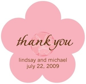 Pink Flower Custom Wedding Thank You Stickers within Thank You Stickers For Favors