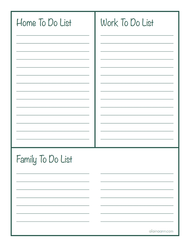 Pinned From Site Directly~~ . . .lined Home, Work & Family To Do within Free Printable To Do List For Home 25483