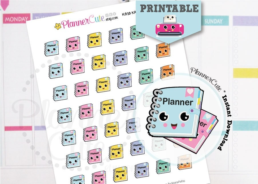 Planner Girl Stickers, Kawaii Printable Planner Stickers K010 throughout Cute Planner Stickers 30419