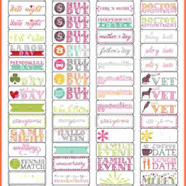 photo relating to Printable Calendar Stickers called Planner Stickers Template.calendar Stickers 1 Preview