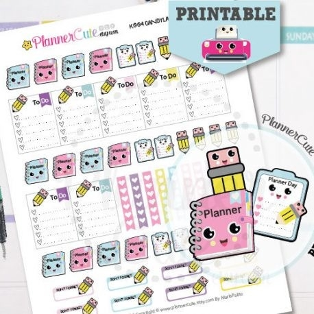 Planning Day Kawaii Printable Planner Stickers K003 - Partymazing with regard to Cute Planner Stickers 30419