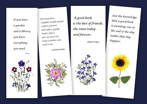 Pressed Flower Bookmarks Set Of 4 Bookmarks For Readers intended for Bookmarks With Quotes About Reading 25893