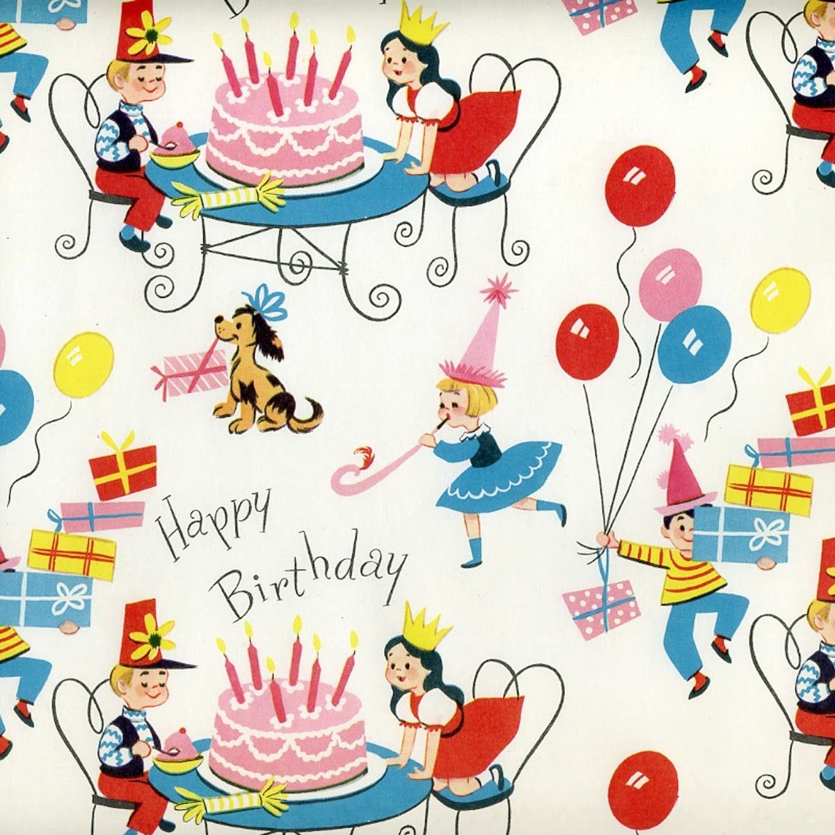 Prettie Parties: Prettievintage Wrapping Paper | Wrapping Paper within Vintage Birthday Wrapping Paper 29512