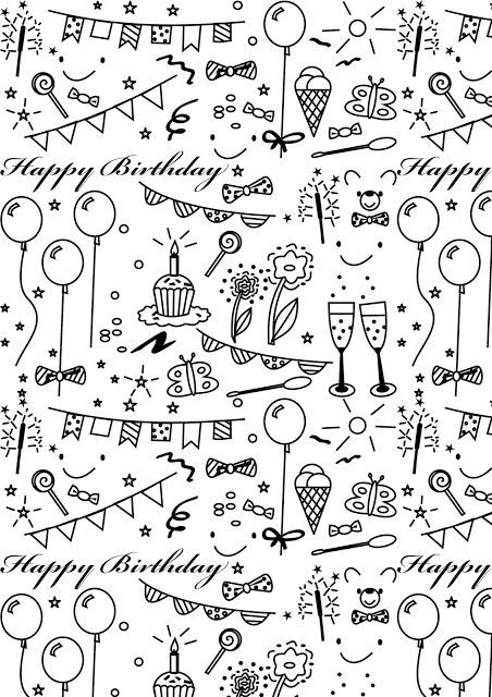 Printable Birthday Wrapping Paper Black And White with regard to Birthday Wrapping Paper Black And White 29501