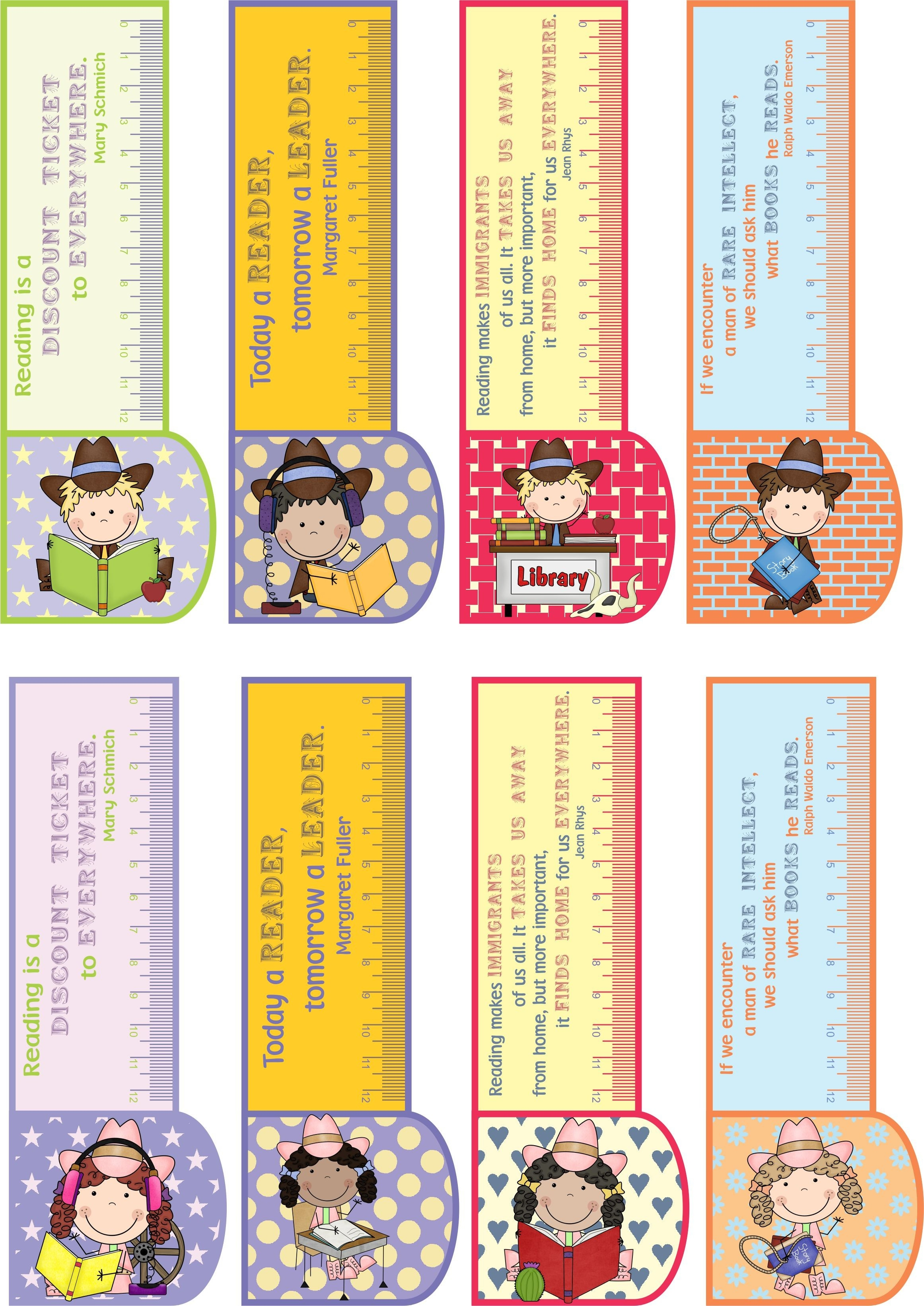 Printable Bookmarks Country Girl/boy 3In1: Bookmark +Ruler + regarding Bookmarks With Quotes About Reading 25893