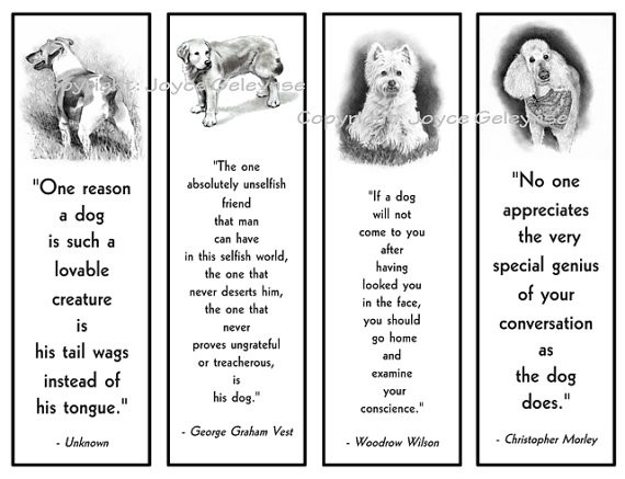 Printable Bookmarks Dogs In Pencil With Quotes About Dogs intended for Bookmark Designs To Print Black And White Quotes 26454