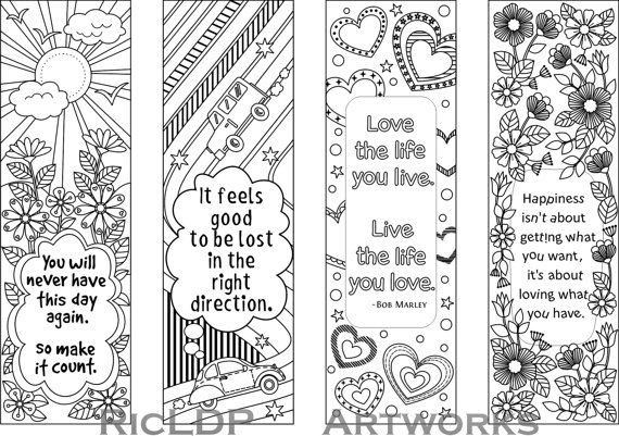 Printable Colouring Bookmarks With Quotes, Coloring Bookmark inside Bookmark Designs To Print Black And White Quotes 26454