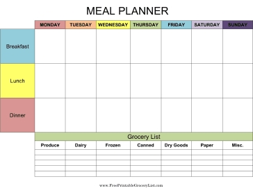 Printable Grocery List Meal Planner with regard to Meal Planner With Grocery List 25523