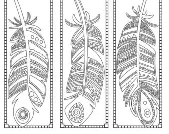 Printable Pattern Coloring Page Bookmarks, Pdf / Jpg, Instant regarding Bookmark Designs To Print Black And White 25873