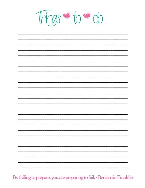 Printable Things To Do List | World Of Example pertaining to Things To Do List Printable 25986