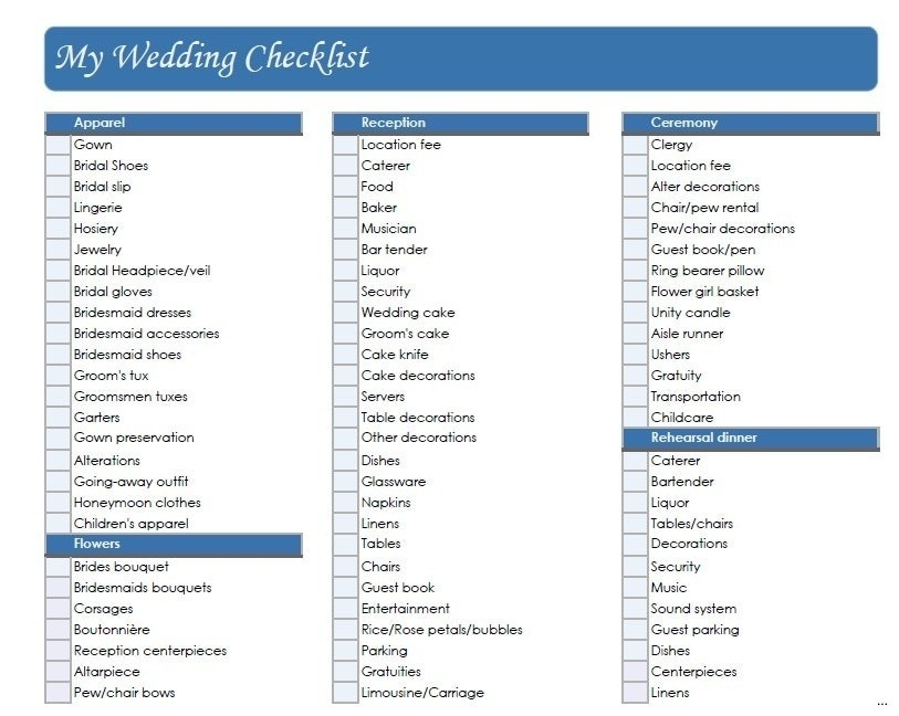 Printable Wedding Checklist The Knot | World Of Example for Printable Wedding Checklist The Knot 25923