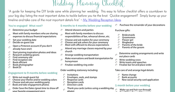 Printable Wedding Planning Checklist For Diy Brides with regard to Printable Wedding Planning Checklist 26139