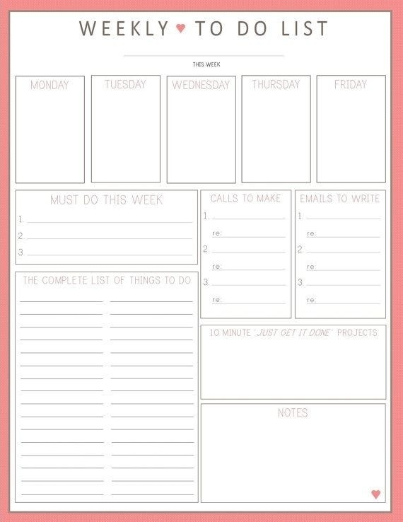 Printable Weekly To Do List Template | World Of Example pertaining to Printable Weekly To Do List Template 25343