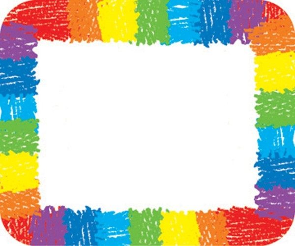 Rainbow - Kid Drawn Label/name Tag (Pack Of 40) (037220) Details in Blank Labels For Kids