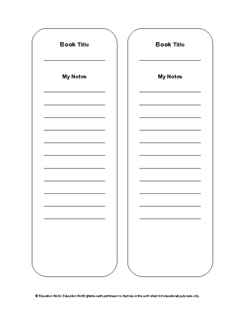 Reading Notes Bookmark Template (Pdf) | Education World intended for Bookmarks For Books Template 27240