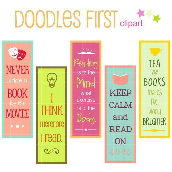 Reading Quotes Bookmarks Digital Clip Art For By Doodlesfirst intended for Creative Handmade Bookmarks Design With Quotes 27150