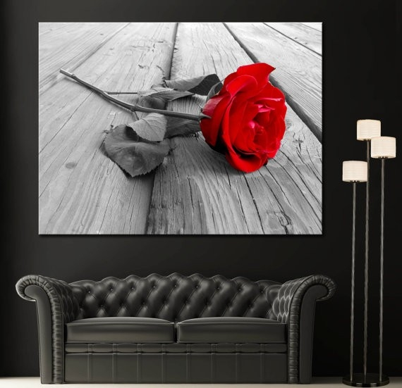 Red Rose Modern Home Fine Black White Wall Art Canvas Giclee intended for Black And White Wall Art With Red 26714