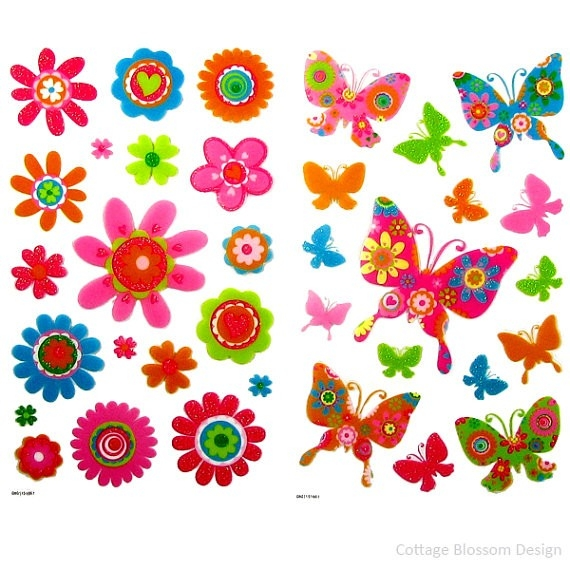Retro Flower & Butterfly Stickers, Neon Glitter, Pink, Green throughout Flower Stickers For Cards 26725