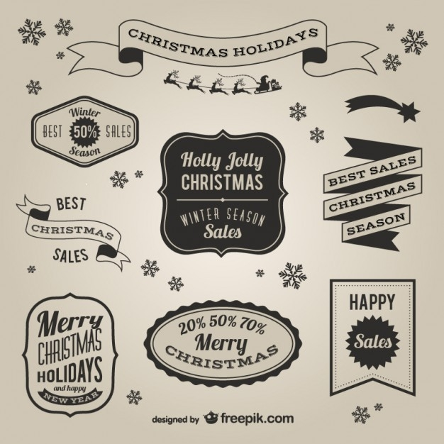 Retro Style Christmas Sales Labels Vector | Free Download in Vintage Label Free Download 29371