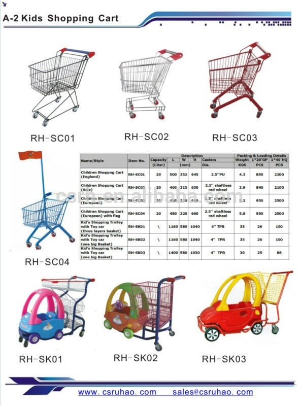 Rh-Sc01 500*352*645Mm England Small Size Kids Shopping Cart - Buy for Grocery List With Prices For Kids 26079
