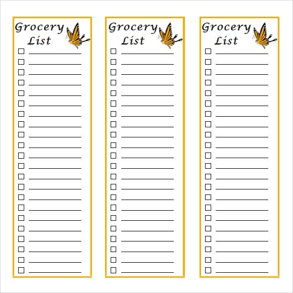 Sample Grocery List - 9+ Documents In Pdf, Word, Excel regarding Shopping List Template Pdf 25513