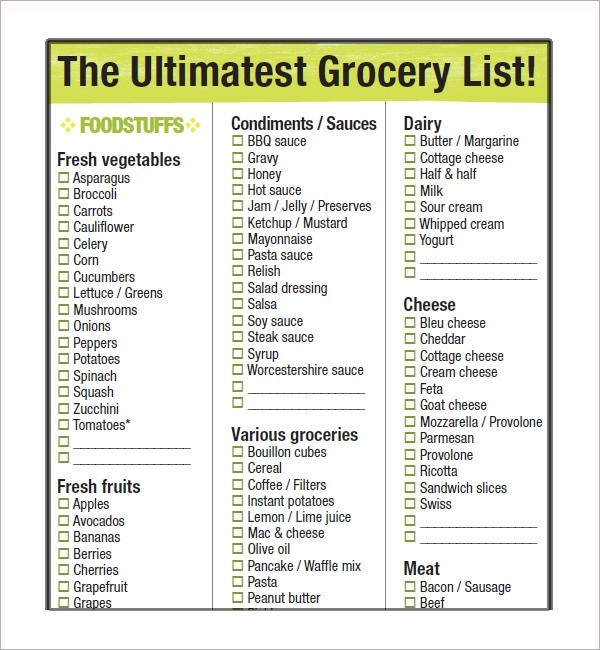 Sample Grocery List Template - 9+ Free Documents In Word, Excel, Pdf within Grocery List Example 25573