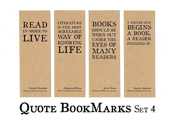 Set Of 4 Bookish Bookmarks For Book Lovers Literary intended for Bookmarks With Quotes About Reading 25893