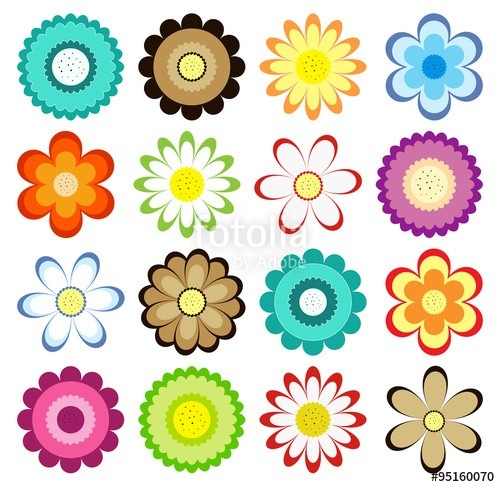 Set Of Colorful Flowers Icons. Vector Collection For Design intended for Flower Stickers For Cards 26725