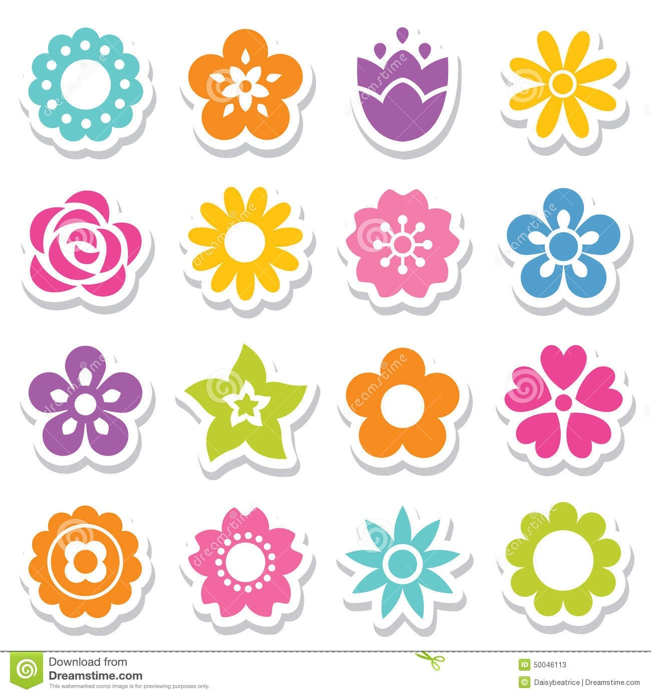 Set Of Flower Stickers In Bright Colors Stock Vector with regard to Flower Stickers For Cards 26725
