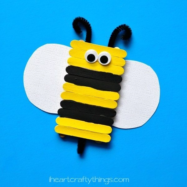 Simple And Cute Popsicle Stick Bee Kids Craft I Heart Crafty