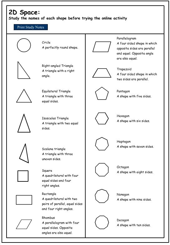 Studying The Names Of 2D Shapes, Mathematics Skills Online regarding Geometry Shapes 2D 25060