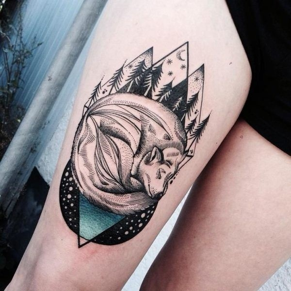 Stunning Animal Tattoos Blended With Geometric Shapes By Jessica intended for Geometric Shape Animal Tattoo 25633