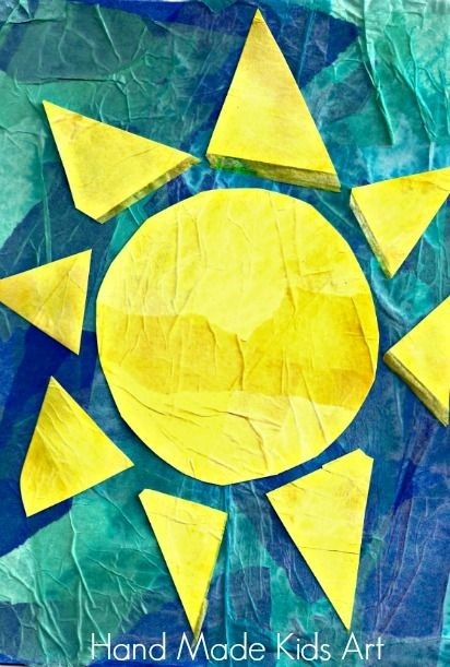 Sun-Filled Tissue Paper Collage | Tissue Paper, Summertime And Collage with regard to Tissue Paper Collage Art Projects For Kids 28981