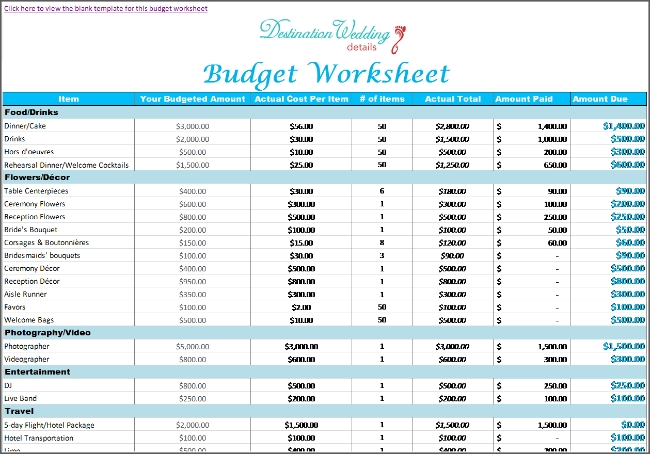Super Simple Destination Wedding Planning Spreadsheets inside Wedding Planning Budget Checklist 26402