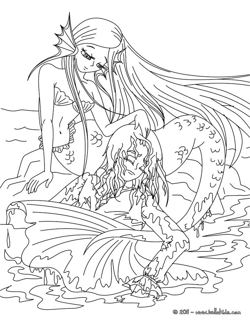 The Little Mermaid Tale Coloring Page | Mermaids | Pinterest for Detailed Coloring Pages Of Mermaids 29451