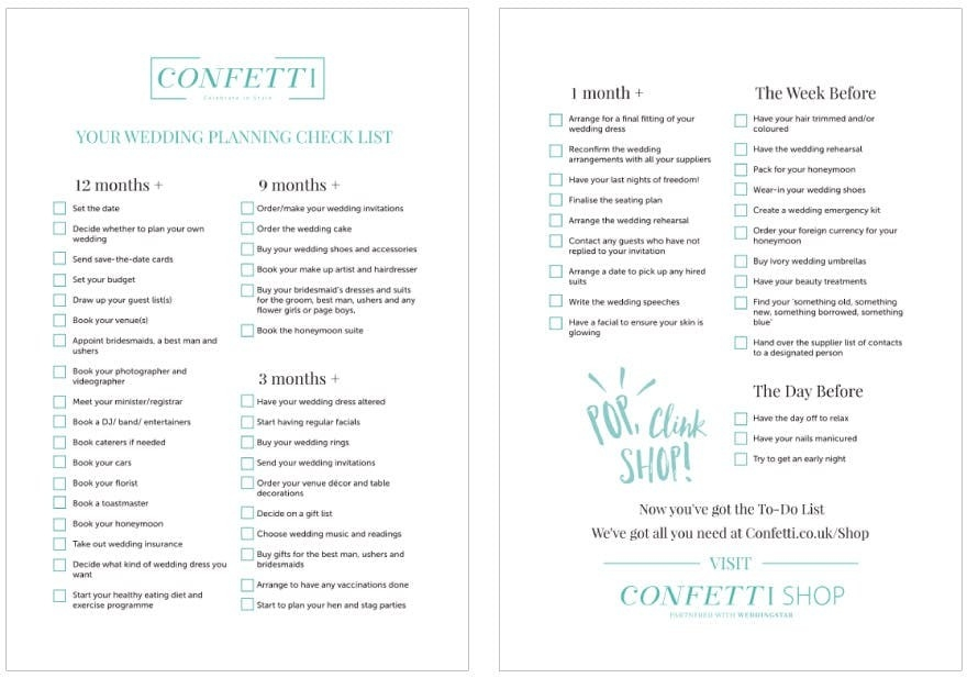 The Ultimate Wedding Planning Checklist - Confetti.co.uk inside Ultimate Wedding Planning Checklist 26149