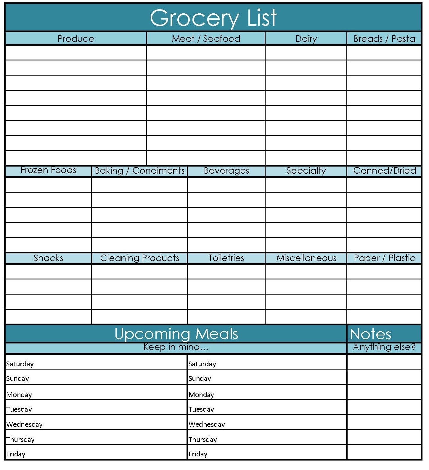 This Is So Handy! Must Print! Printable Grocery Shopping List And regarding Meal Planner With Grocery List 25523
