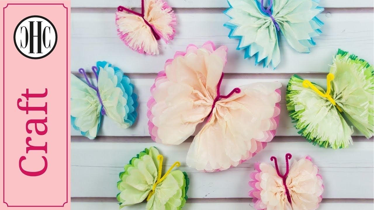 Tissue Paper Butterflies | Diy Paper Craft Tutorial | Country Hill regarding Tissue Paper Crafts Tutorial 26834