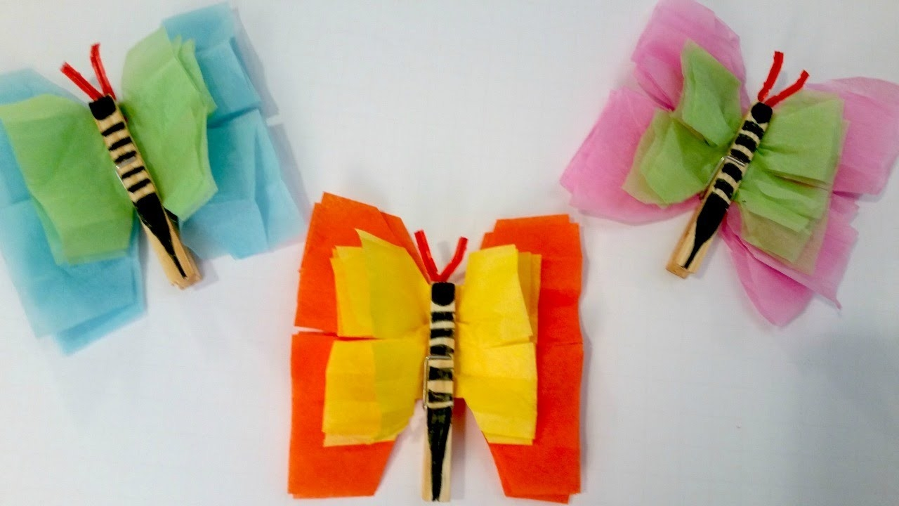 Tissue Paper Butterflies - Easy Summer Craft For Kids - Youtube pertaining to Easy Tissue Paper Crafts For Kids 27490