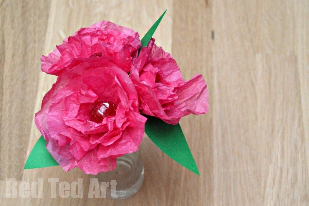 Tissue Paper Flower Lollipops - Red Ted Art's Blog in How To Make Tissue Paper Crafts 26814