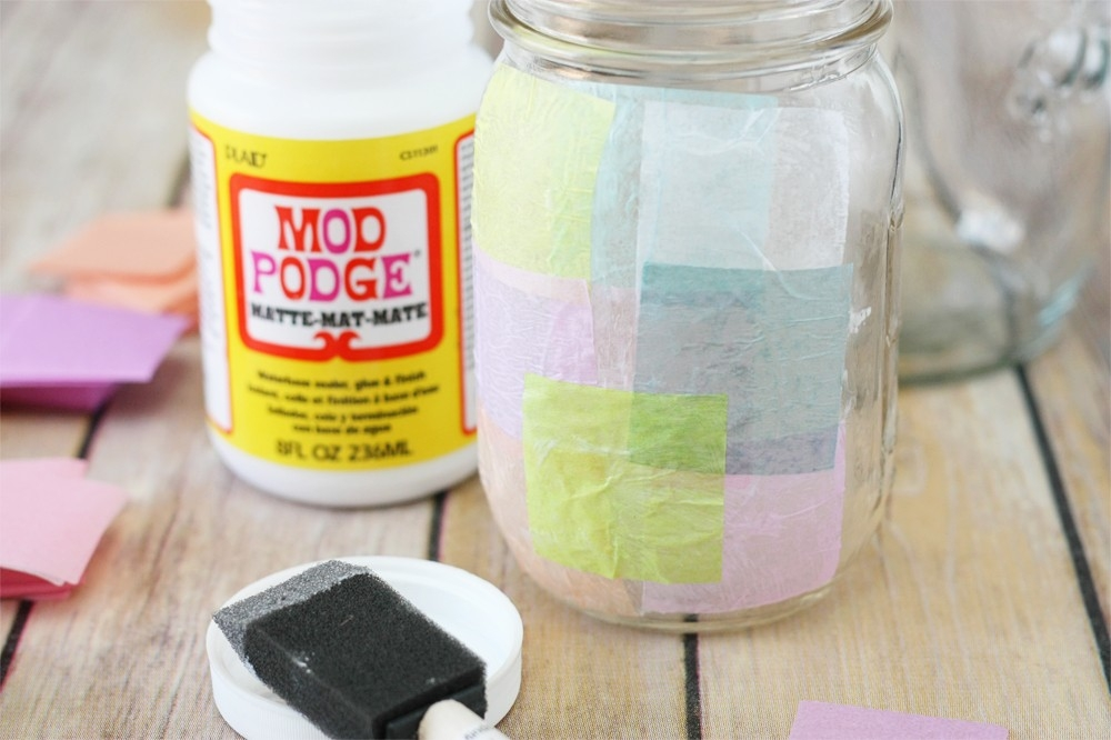 Tissue Paper Stained Glass Jars - Crafts Unleashed in Tissue Paper Jar Crafts 29010