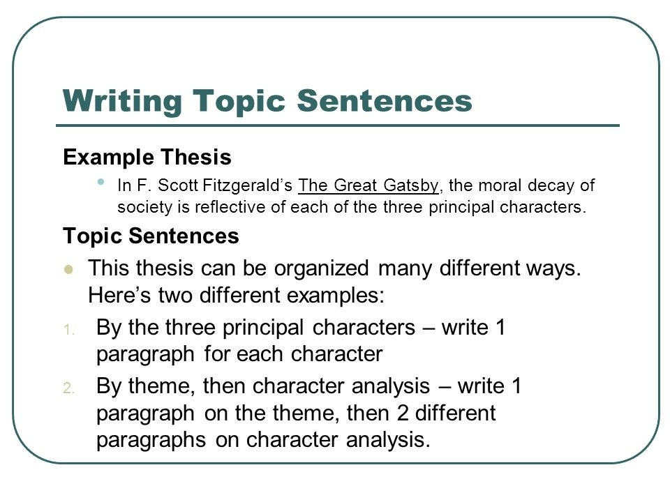 Topic Sentences Supporting Your Thesis Statement. - Ppt Download intended for Topic Sentence Examples 28871