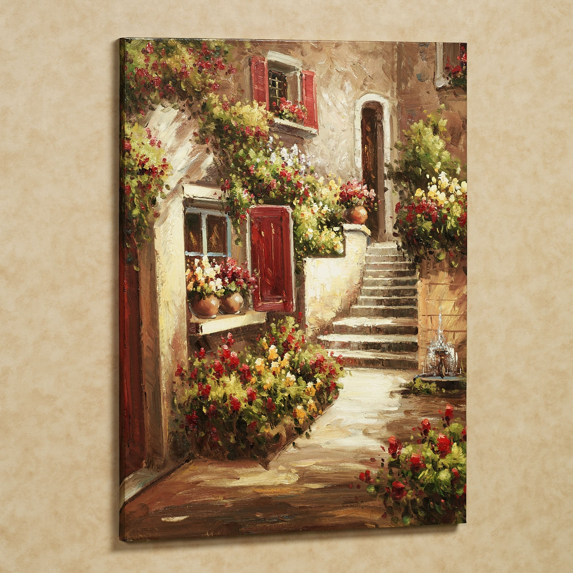 Tuscany Art | Home Tuscan Flowers Canvas Art Red | Art Tuscany with Tuscan Kitchen Wall Art 27089