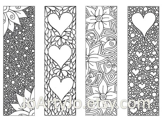 Valentine's Bookmarks To Print And Color Zentangle within Cool Bookmarks To Print And Color 27220